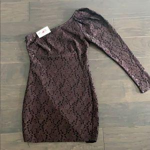 NWT- Brown lace one arm mini dress